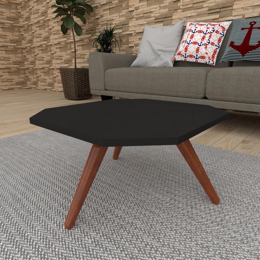 Mesa de Centro octagonal em mdf preto com 3 pés inclinados em madeira maciça cor mogno