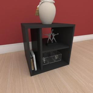 Mesa de cabeceira slim com nichos em mdf preto