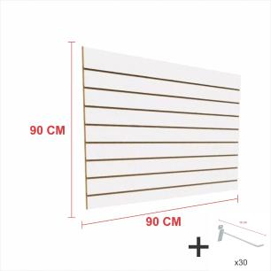Kit Painel canaletado branco alt 90 cm comp 90 cm mais 30 ganchos 10 cm
