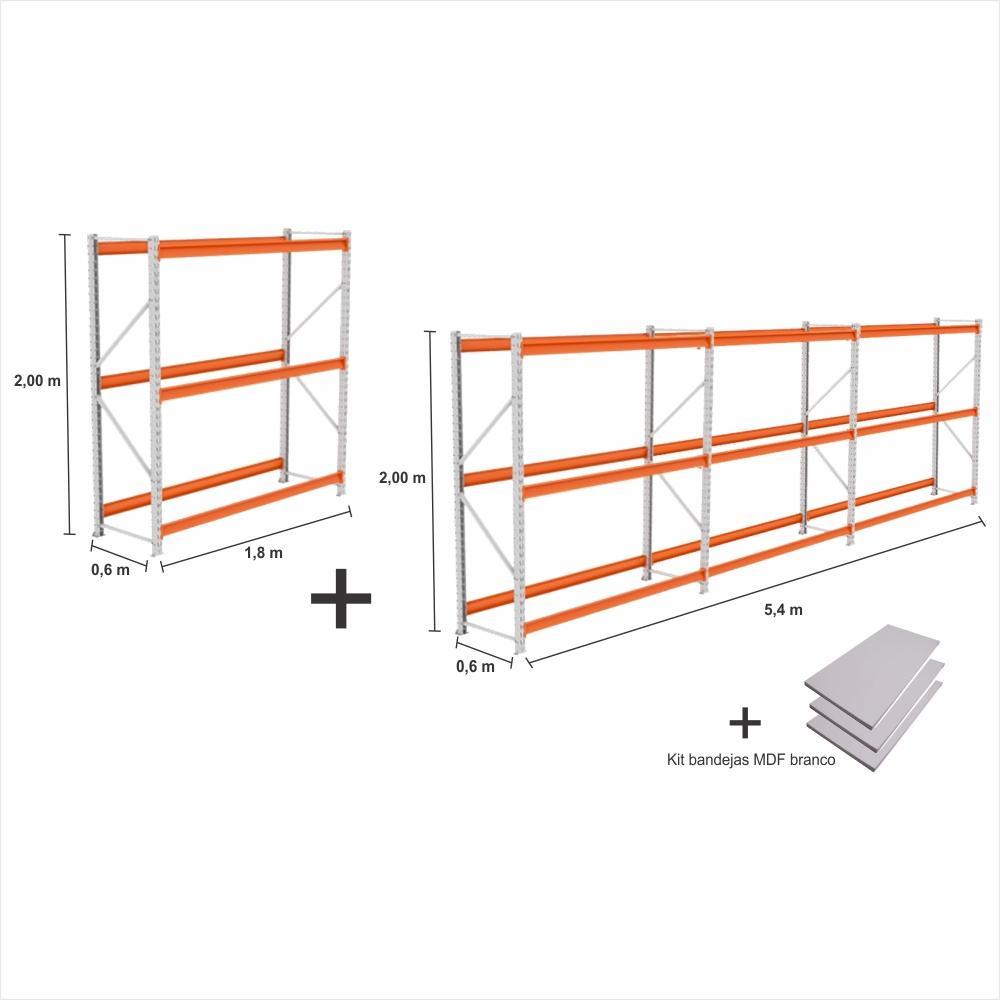 kit 4 Mini Porta Pallet 2 Inicial + 2 cont 250KG Com 3 niveis 2,00X1,80X0,60 + kit band. branco