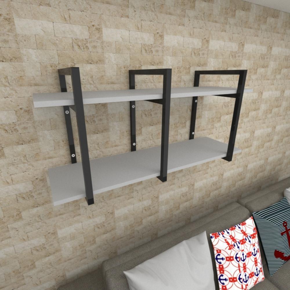 Prateleira industrial para Sala aço cor preto prateleiras 30 cm cor cinza modelo ind20csl
