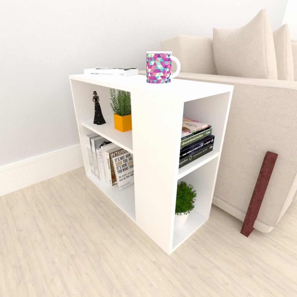 Mesa lateral para sofá, em mdf Branco