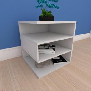 Kit com 2 Mesa de cabeceira minimalista com nichos em mdf cinza