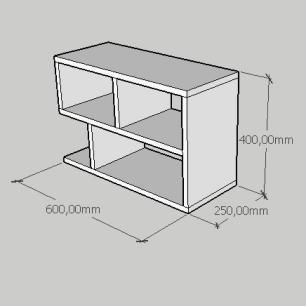 Mesa de cabeceira minimalista em mdf amadeirado