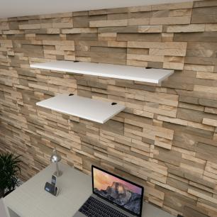 Kit 2 prateleiras escritório em MDF suporte tucano branco 1 60x30cm 1 90x30cm modelo pratesb14
