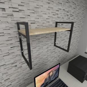 Prateleira industrial para escritório aço cor preto mdf 30 cm cor amadeirado claro modelo ind03aces