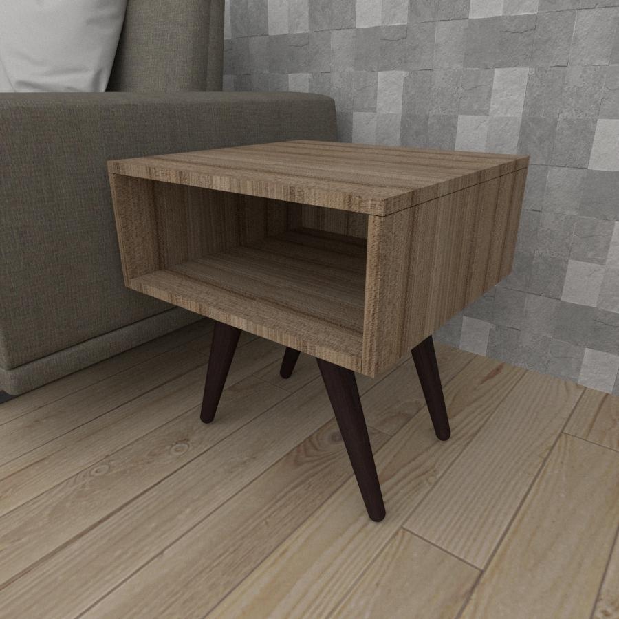Mesa lateral em mdf amadeirado escuro com 4 pés inclinados em madeira maciça cor tabaco