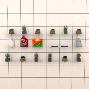 Kit com seis Prateleira para lavanderia 60 cm vidro temperado