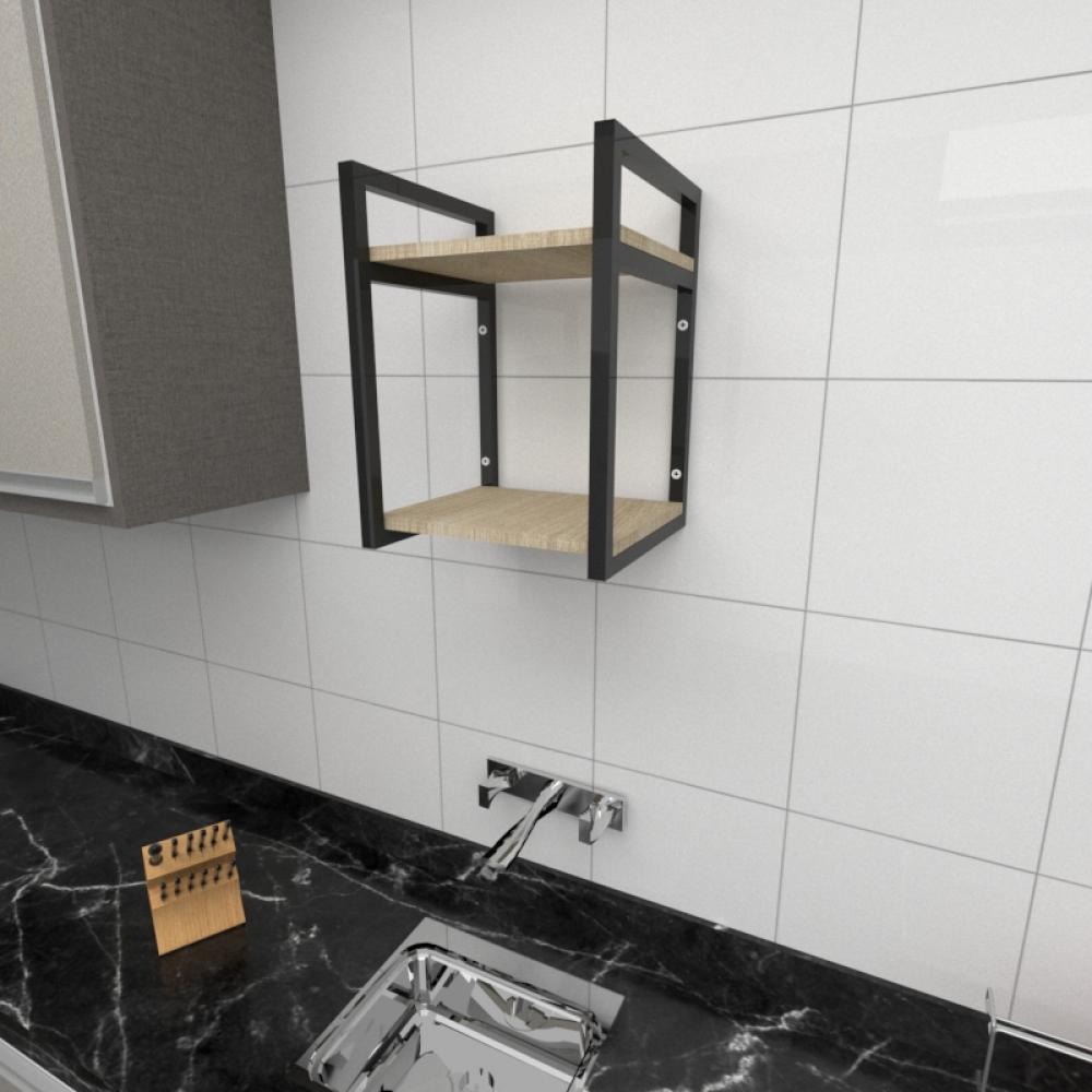 Prateleira industrial para cozinha aço cor preto prateleiras 30cm cor amadeirado claro mod ind24acc