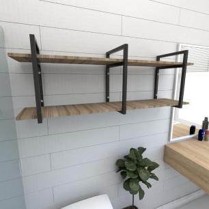 Prateleira industrial banheiro aço cor preto prateleiras 30cm cor amadeirado escuro mod ind05aeb