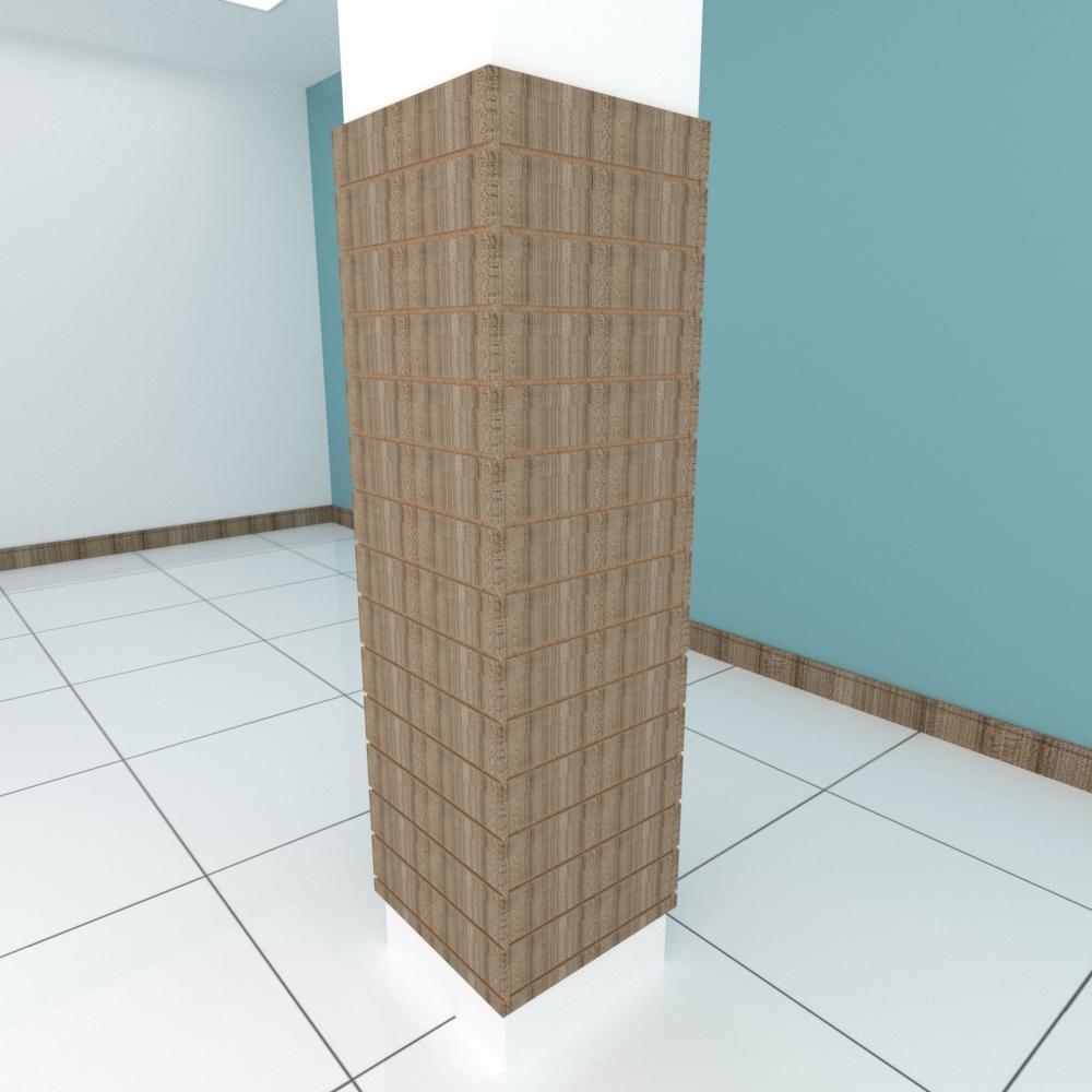 Kit 4 Painel canaletado para pilar amadeirado escuro 2 peças 54(L)x180(A)cm + 2 peças 50(L)x180(A)cm