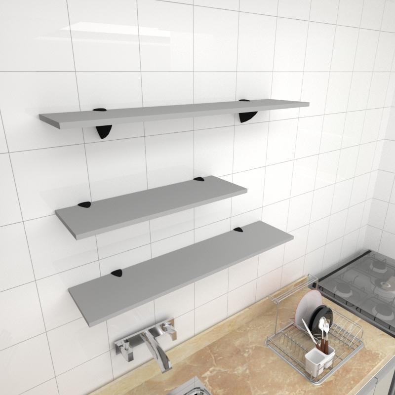 Kit 3 prateleiras cozinha em MDF suporte tucano cinza 1 60x20cm 2 90x20cm modelo pratcc16