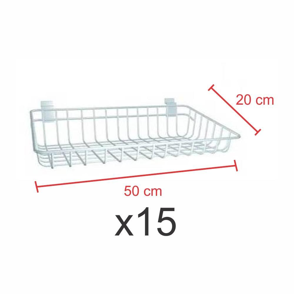Kit com 15 Cestos para painel canaletado 20x50 cm branco