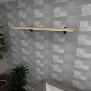 Prateleira para sala MDF suporte tucano cor amadeirado claro 90(C)x30(P)cm modelo pratslamc01