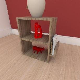 Mesa de cabeceira slim com prateleira em mdf amadeirado