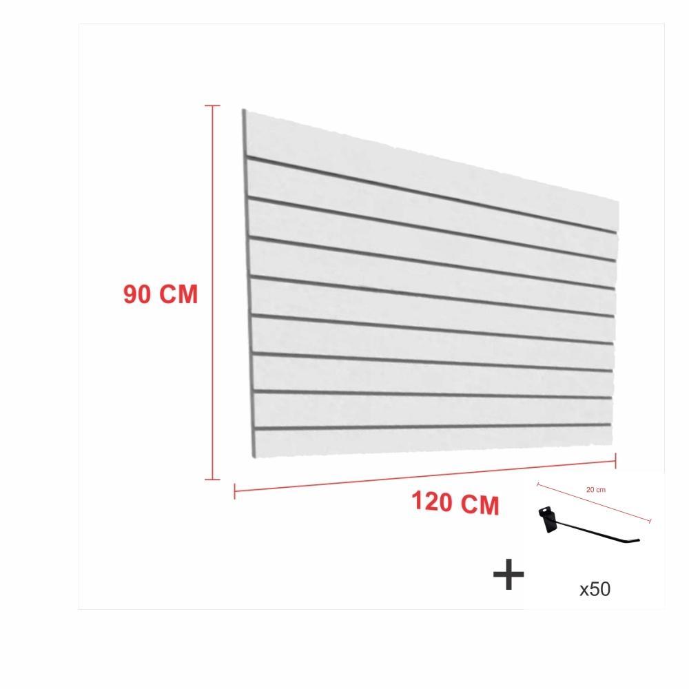 Expositor canaletado cinza alt 90 cm comp 120 cm mais 50 ganchos 20 cm