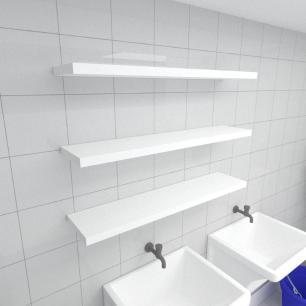 Kit 3 prateleiras para lavanderia em MDF suporte Inivisivel branco 90x20cm modelo pratlvb27
