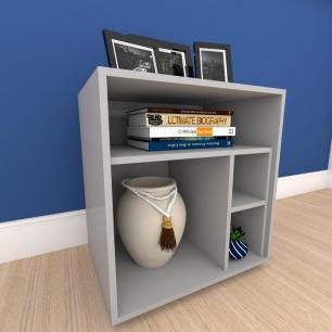 Mesa de Cabeceira formato S minimalista em mdf Cinza