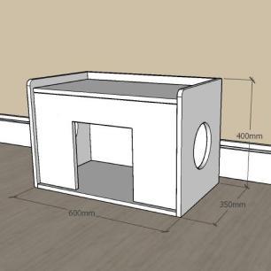 Mesa de cabeceira caminha casinha para Gato em mdf Preto