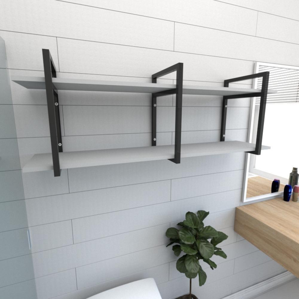 Prateleira industrial para banheiro aço cor preto prateleiras 30 cm cor cinza modelo ind05cb