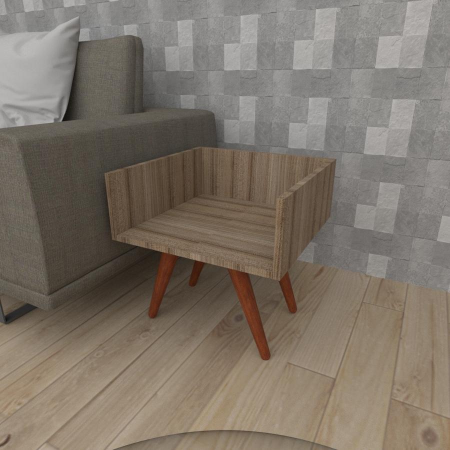 Mesa lateral minimalista em mdf amadeirado escuro com 4 pés inclinados em madeira maciça cor mogno