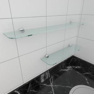 kit com 2 Prateleira de vidro temperado para cozinha 1 de 40(C)x8(P)cm 1 de 60(C)x8(P)cm