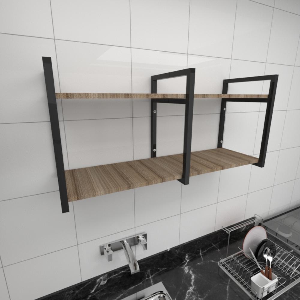 Prateleira industrial cozinha aço cor preto prateleiras 30cm cor amadeirado escuro mod ind22aec