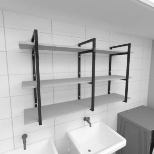 Prateleira industrial para lavanderia aço cor preto prateleiras 30 cm cor cinza modelo ind12clav