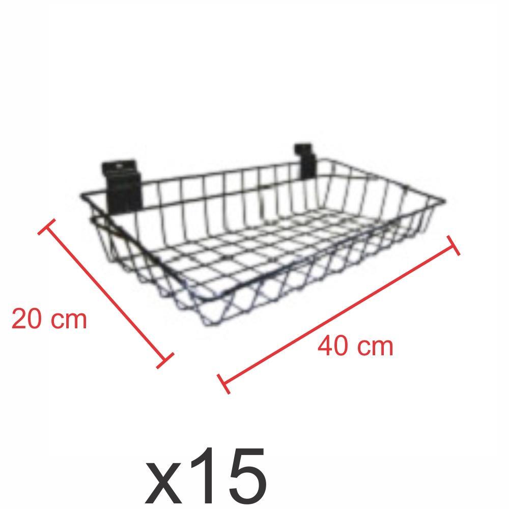 kit para expositor com 15 Cestos para painel canaletado 20x40 cm preto