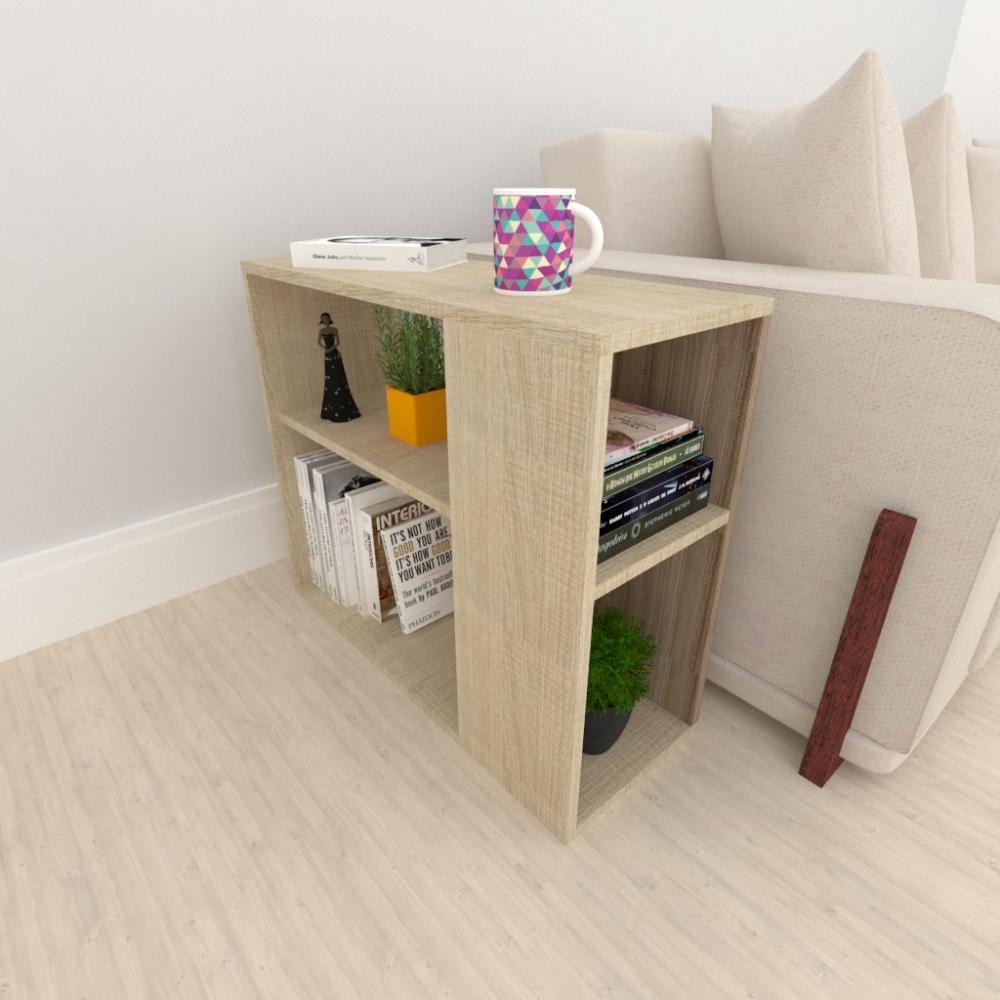 Mesa lateral para sofá, em mdf Amadeirado claro