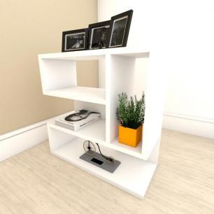 Mesa de Cabeceira moderna com nicho em mdf Branco