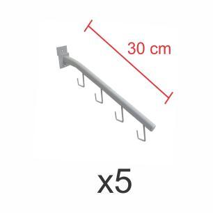 Pacote com 5 ganchos rt para bolsas e cintos branco de 30 cm para painel canaletado
