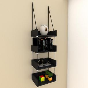 Quatro nicho prateleiras moderna com cordas, mdf preto