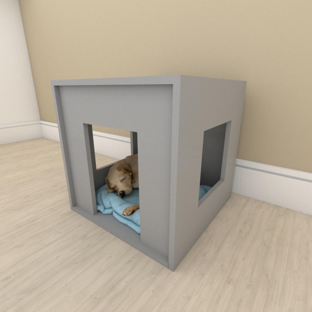 Mesa de cabeceira bercinho para cachorro em mdf Cinza