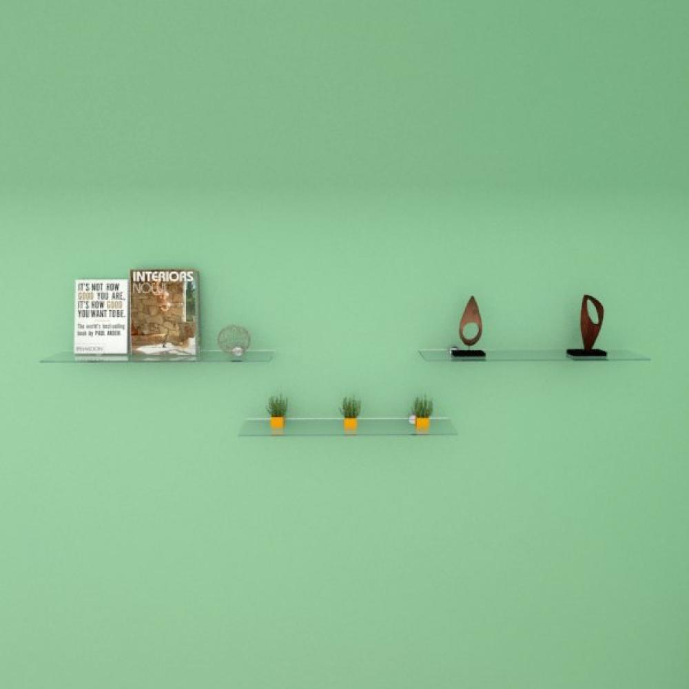Kit com tres Prateleira para escritório 50 cm vidro temperado