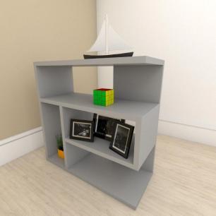 kit com 2 Mesa de cabeceira moderna com nicho em mdf Cinza