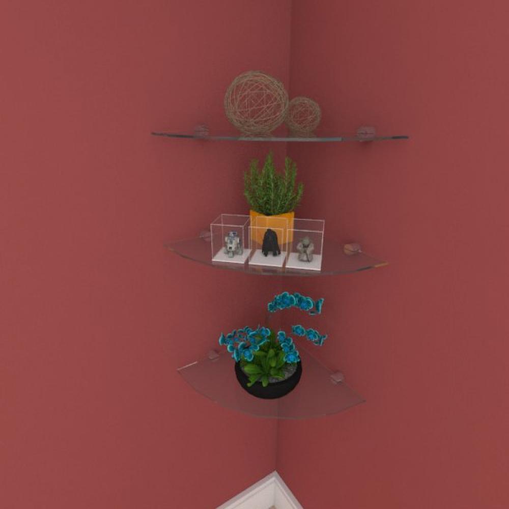 Kit com tres Prateleira para sala de canto 30 cm vidro temperado