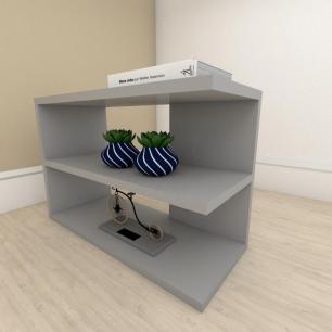 Estante escritório slim em mdf Cinza