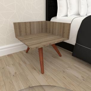 Mesa de Cabeceira simples em mdf amadeirado escuro com 3 pés inclinados em madeira maciça cor mogno