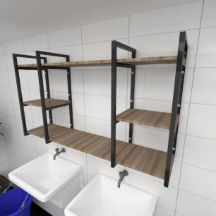 Prateleira industrial para lavanderia aço cor preto mdf 30cm cor amadeirado escuro modelo ind17aelav
