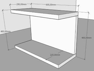 Kit com 2 Mesa de cabeceira moderna Cinza