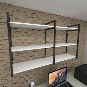 Prateleira industrial para escritório aço cor preto prateleiras 30 cm cor branca modelo ind11bes