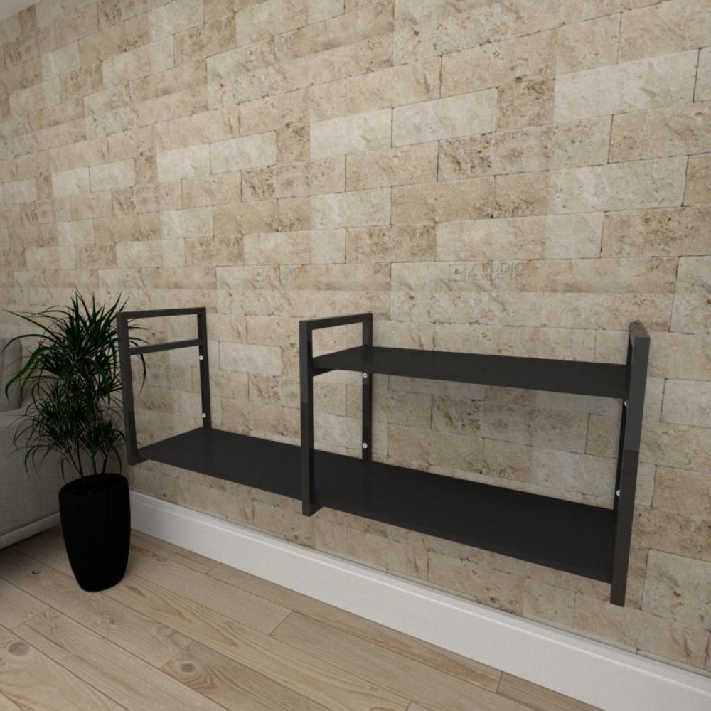 Mini estante industrial para escritório aço cor preto prateleiras 30 cm cor preto modelo ind07pep