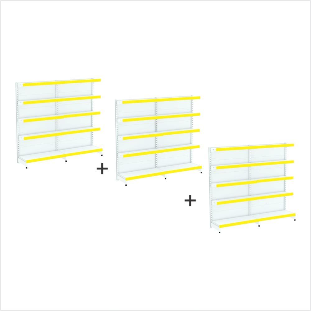 kit 6 gondola expositora 2 inicial 2 cont 1,70x92 40/30 40 kg por bandeja, porta etiquetas amarelo