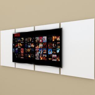 Painel Tv pequeno moderno branco com amadeirado claro