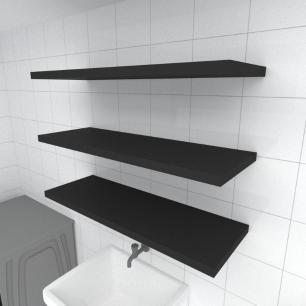 Kit 3 prateleiras para lavanderia em MDF suporte Inivisivel preto 90x30cm modelo pratlvp21