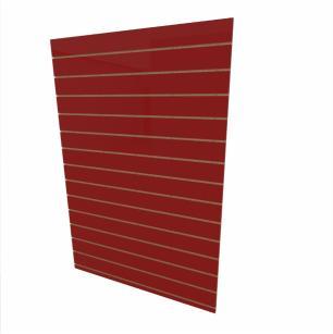 Expositor canaletado 18mm Vermelho Escuro Tx altura 180 cm comp 120 cm