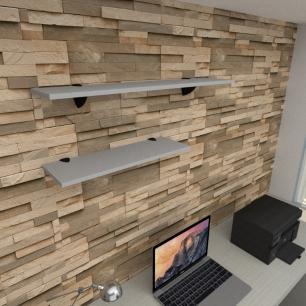 Kit 2 prateleiras escritório em MDF suporte tucano cinza 1 60x20cm 1 90x20cm modelo pratesc17