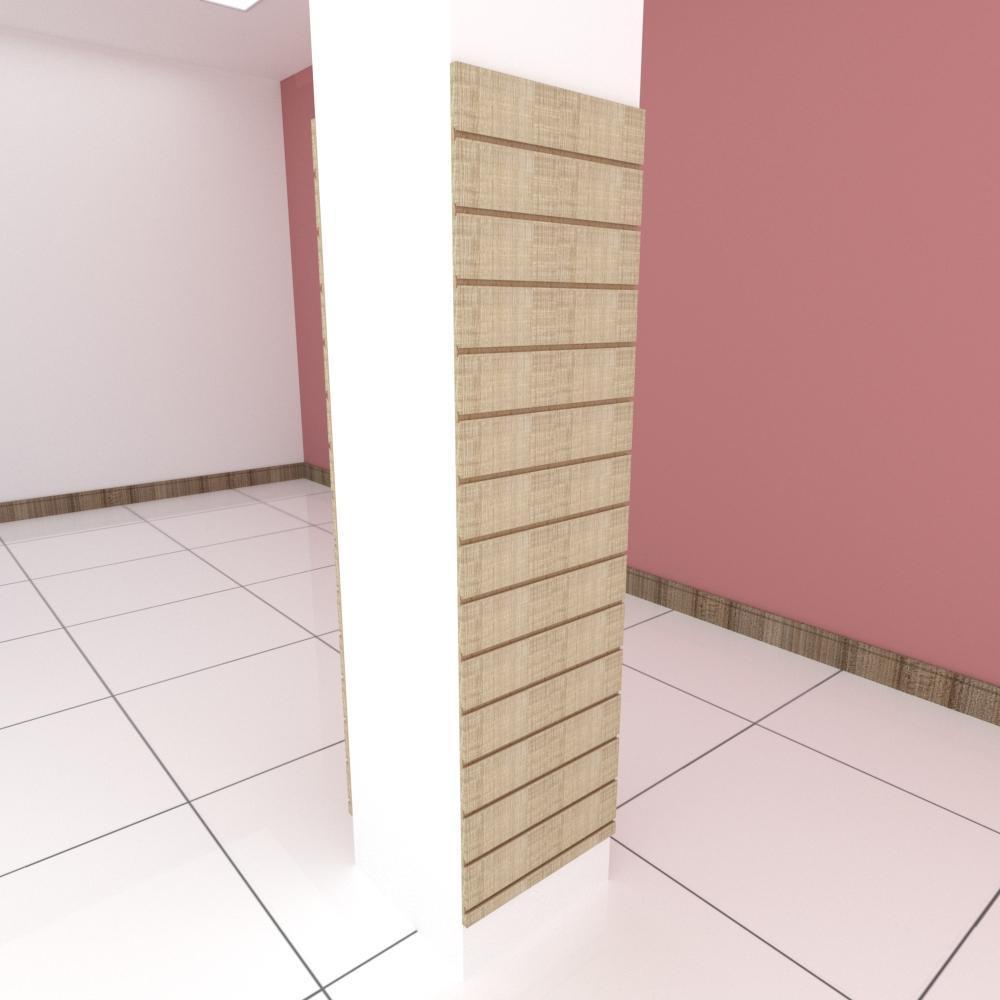 Kit 2 Painel canaletado para pilar amadeirado claro 2 peças 50(L)x180(A)cm