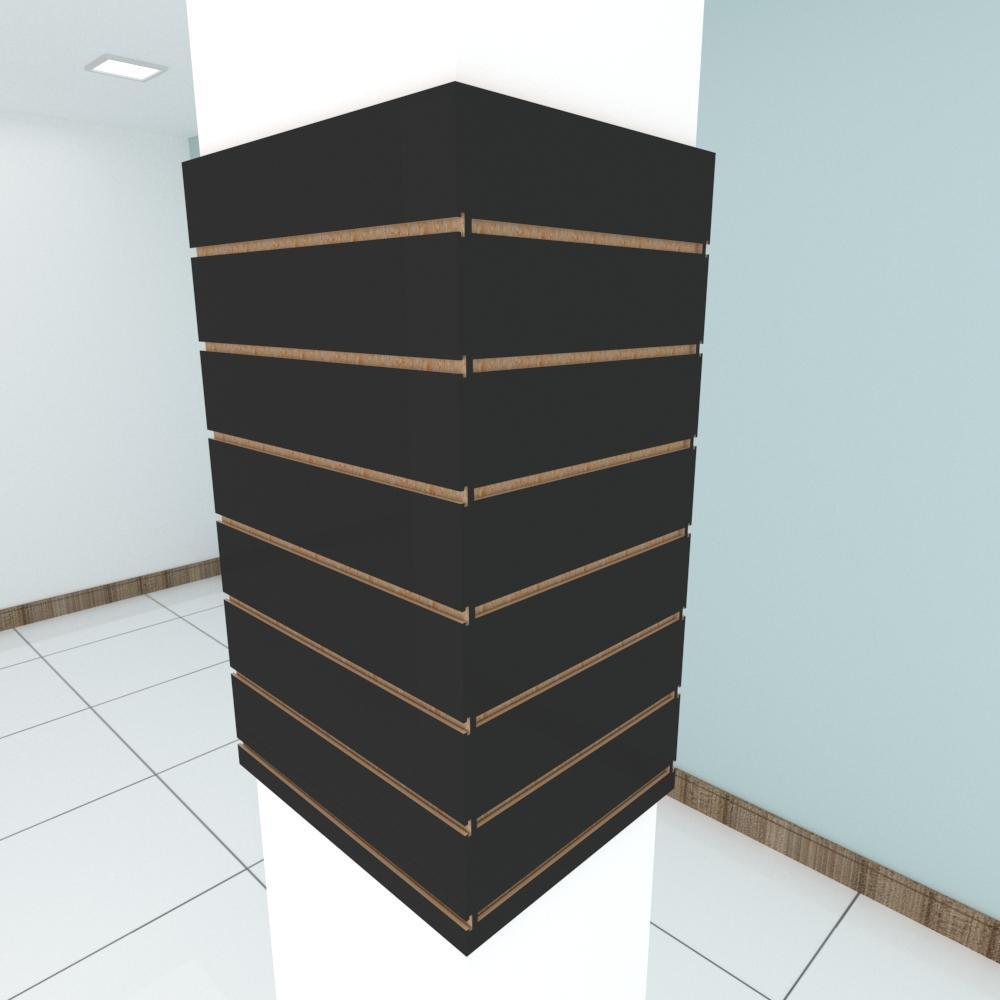 Kit 4 Painel canaletado para pilar preto 2 peças 54(L)x90(A)cm + 2 peças 40(L)x90(A)cm